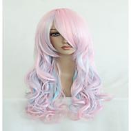 お買い得  -人工毛ウィッグ / コスチュームウィッグ ウェーブ ピンク バング付き 合成 ハイライト / バレイヤージュヘア / サイドパート ピンク かつら 女性用 非常に長いです キャップレス ピンク