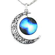Недорогие $0.99 Модное ювелирное украшение-Жен. Ожерелья с подвесками - MOON, Галактика европейский, Мода Синий, Красный / Белый, Радужный Ожерелье Бижутерия 1шт Назначение Для вечеринок, Halloween, Бизнес