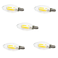 5pcs C35 6W E14 LED Filament Bulbs 6 COB 560LM Warm/ Cool White Candle Light Lamp(AC220-240V)