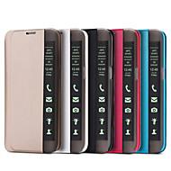 Недорогие Чехлы и кейсы для Galaxy S7-Кейс для Назначение SSamsung Galaxy Кейс для  Samsung Galaxy со стендом С функцией автовывода из режима сна Флип Чехол Сплошной цвет Кожа