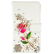 Кейс для Назначение SSamsung Galaxy S7 edge S7 Бумажник для карт Кошелек Стразы со стендом Флип Чехол Цветы Твердый Искусственная кожа для