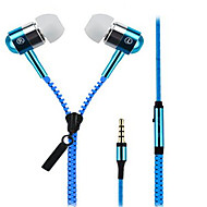 Zipper In Ear Wired Headphones Dynamic Aluminum Alloy Mobile Phone Earphone with Microphone Headset