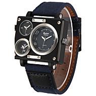 저렴한 -Oulm 남성용 밀리터리 시계 손목 시계 석영 쓰리 타임 존 섬유 밴드 캐쥬얼 멋진 화이트 블루 브라운