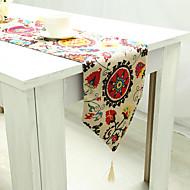 Prostokątny Kwiaty Wzorzyste Haft Bieżniki , Linen / Cotton Mieszanka Materiał Hotel Stół Tabela Dceoration