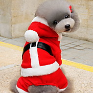 Kat Hond kostuums Hoodies Hondenkleding Fleece Winter Schattig Kerstmis Effen Rood Voor huisdieren