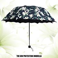 Musta Taitettava sateenvarjo Aurinkoinen ja sateinen Plastic Rattaat