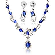 저렴한 -여성 라인석 합성 사파이어 합성 루비 합성 다이아몬드 파티 일상 캐쥬얼 1 목걸이 1 쌍의 귀걸이