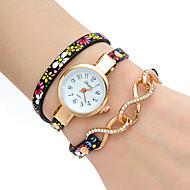 tanie Zegarki boho-Damskie Modny Zegarek na nadgarstek Zegarek na bransoletce Kwarcowy Kolorowy PU PasmoPostarzane Kwiat Artystyczny Z Wisorkami