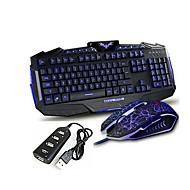 Gaming Illuminated USB Wired Keyboard and 2400DPI Wired Mouse with Multi USB Splitter Hub USB Combo Four In One Kit
