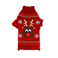 abordables Accesorios y Ropa para Gatos-Gato / Perro Suéteres / Navidad Ropa para Perro Reno Negro / Rojo Fibra de acrílico Disfraz Para mascotas Hombre / Mujer Navidad / Año Nuevo