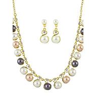 abordables -Juego de Joyas Perla Colorido Europeo Perla Gota 1 Collar 1 Par de Pendientes Para Diario 1 Set Regalos de boda
