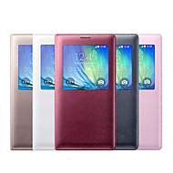 Недорогие Чехлы и кейсы для Galaxy А-Кейс для Назначение SSamsung Galaxy Кейс для  Samsung Galaxy с окошком Флип Чехол Сплошной цвет Кожа PU для A3