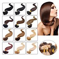 お買い得  -Febay フュージョン/Uチップ 人間の髪の拡張機能 ストレート 人毛 ブラジリアンヘア ストロベリーブロンド ダークオーバーン ミディアムブラウン