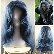 Недорогие Парики из искусственных волос-жен. Парики из искусственных волос Без шапочки-основы Длиный Лёгкие волны Синий Прямой пробор Парики для косплей Парик для Хэллоуина