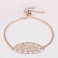 billige -Dame Kæde & Lænkearmbånd Zirkonium Kvadratisk Zirconium Mode Bladformet Sølv Gylden Rose Guld Smykker 1 Stk.