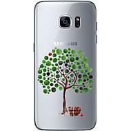 Недорогие Чехлы и кейсы для Galaxy S7-Кейс для Назначение SSamsung Galaxy S7 edge S7 Ультратонкий Прозрачный С узором Кейс на заднюю панель дерево Мягкий ТПУ для S7 edge S7 S6