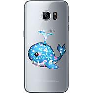 Недорогие Чехлы и кейсы для Galaxy S7-Кейс для Назначение SSamsung Galaxy S7 edge S7 Ультратонкий Прозрачный С узором Кейс на заднюю панель Животное Мягкий ТПУ для S7 edge S7