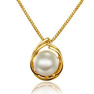 Damskie Naszyjniki z wisiorkami Perła Circle Shape Perłowy Pozłacane 18K złoty Okragły Unikalny euroamerykańskiej Gold Biżuteria NaŚlub