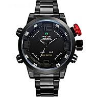 Недорогие Фирменные часы-WEIDE Муж. Спортивные часы / Модные часы / Наручные часы Будильник / Календарь / Секундомер Нержавеющая сталь Группа Роскошь Черный / Защита от влаги / С двумя часовыми поясами / Защита от влаги
