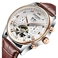 cheap Dress Watches-KINYUED Men's Skeleton Watch / Wrist Watch / Mechanical Watch Calendar / date / day / Chronograph / Water Resistant / Water Proof Leather Band Luxury / Casual / Dress Watch Brown