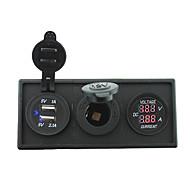 Недорогие Автомобильные зарядные устройства-12v / 24v питания charger3.1a USB порт и тока манометр Ampmeter с держателем корпус панель для автомобиля лодки грузовик с.в. (с текущим
