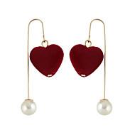 Κρεμαστά Σκουλαρίκια Κοσμήματα Γυναικεία Causal Μαργαριτάρι Κράμα 1 ζευγάρι Κόκκινο