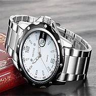 SKONE Herrn Modeuhr Armbanduhr Quartz Kalender Edelstahl Band Bettelarmband Luxuriös Silber