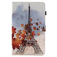 Недорогие Чехлы и кейсы для Galaxy Tab E 9.6-Кейс для Назначение SSamsung Galaxy Вкладка 9,7 Вкладка 8,0 Бумажник для карт со стендом Флип С узором Чехол Эйфелева башня Твердый Кожа
