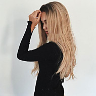 Mulher Perucas sintéticas Sem Touca Longo Ondulado Preto / louro da morango Cabelo Ombre Raízes Escuras Repartida ao Meio Peruca Natural