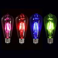 3W E26/E27 LED필라멘트 전구 ST64 4 COB 300-400 lm 핑크 레드 블루 그린 케이 밝기조절가능 장식 AC 220-240 V