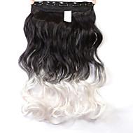 """neitsi® 1шт 110g 22 """"3/4 5clips голова KANEKALON синтетические оплетки волос штук клип в / на волнистых расширений T-белый #"""