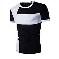 T-shirt Per uomo Sport Attivo Collage, Monocolore Rotonda - Cotone Bianco L / Manica corta / Estate / Taglia piccola