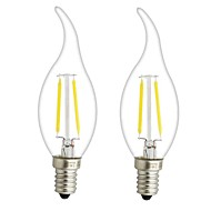 cheap LED Filament Bulbs-ONDENN 2pcs 3W 300 lm E14 E12 LED Filament Bulbs CA35 2 leds COB Dimmable Warm White AC 220-240V AC 110-130V