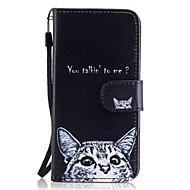 Кейс для Назначение SSamsung Galaxy A5(2017) A3(2017) Кошелек Бумажник для карт со стендом Флип С узором Чехол Кот Твердый Искусственная