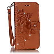 Недорогие Чехлы и кейсы для Galaxy S7 Edge-Кейс для Назначение SSamsung Galaxy S7 edge S7 Бумажник для карт Стразы со стендом Флип Чехол Цветы Твердый Кожа PU для S7 edge S7 S6