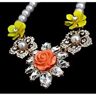 Недорогие Украшения в цветочном стиле-Жен. Цветы С цветами Цветочный дизайн Цветы Мода Euramerican Ожерелья с подвесками Multi-камень Искусственный жемчуг Синтетические
