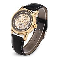 สำหรับผู้ชาย นาฬิกาเห็นกลไกจักรกล นาฬิกาข้อมือ วิศวกรรมนาฬิกา ญี่ปุ่น ไขลานอัตโนมัติ PU Leather ดำ แกะสลักกลวง ระบบอนาล็อก ความหรูหรา - สีดำ