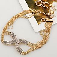 女性用 チョーカー ラインストーン 円形 銀メッキ ゴールドメッキ ファッション ゴールド シルバー ジュエリー のために パーティー 日常 1パック
