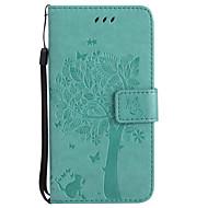Кейс для Назначение SSamsung Galaxy A5(2017) A3(2017) Кошелек Бумажник для карт со стендом Флип Рельефный С узором Чехол Кот дерево