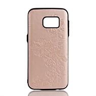 Недорогие Чехлы и кейсы для Galaxy S7 Edge-Кейс для Назначение SSamsung Galaxy S8 Plus S8 Рельефный Задняя крышка Цветы Твердый Искусственная кожа для S8 S8 Plus S7 edge S7