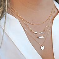 billige -Dame Perle Legering Kjedehalskjeder Perlehalskjede lagdelte Hals - Perle Legering Personalisert Multi Layer Mote Sirkelformet Julegaver