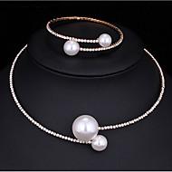 Damen Schmuckset Perlenkette Imitierte Perlen Kubikzirkonia Modisch Multi-Wege Wear Modeschmuck Aleación Runde Form 1 Halskette 1 Armreif