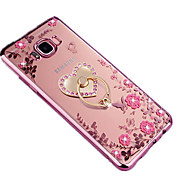 For Samsung S8 Plus S8 Rhinestone Ring Holder Translucent DIY Case Back Cover Case Flower Soft TPU