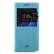 Недорогие Чехлы и кейсы для Galaxy S7 Edge-Кейс для Назначение SSamsung Galaxy S7 edge S7 Бумажник для карт со стендом с окошком Чехол Сплошной цвет Твердый Кожа PU для S7 edge S7