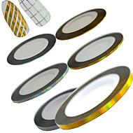 6rolls / set 20m / tekercs összekeverjük 1mm2mm3mm új divat lézeres arany&ezüst köröm csíkozás mérőszalag matrica köröm szépségét diy
