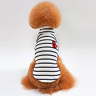 お買い得  ペット用品 & アクセサリー-ネコ 犬 Tシャツ スウェットシャツ 犬用ウェア 縞柄 ホワイト ブルー コットン コスチューム ペット用 男性用 女性用 カジュアル/普段着