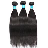 お買い得  -3バンドル ブラジリアンヘア ストレート 人毛 人間の髪編む ナチュラルカラー 人間の髪織り 新しい / ホット販売 人間の髪の拡張機能 女性用