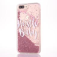 Недорогие Кейсы для iPhone 8-Назначение iPhone 8 iPhone 8 Plus Чехлы панели Стразы Движущаяся жидкость Прозрачный Задняя крышка Кейс для Слова / выражения Сияние и