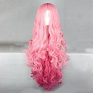 Kvinder Syntetiske parykker Lokkløs Veldig lang Bølgete Rosa + Rød Ombre-hår Cosplay-parykk Kostymeparykk