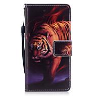 Huawei P8 lite (2017) p10 burkolata tigris mintás festett pu bőr anyaga kártya stent pénztárca telefon esetében p10 és p10 lite